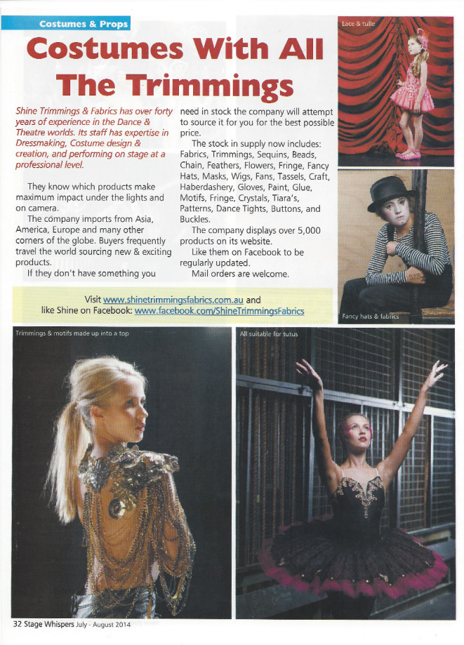 print article in stage whispers magazine about Shine