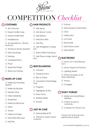 56 things to take to a dancing competition shine