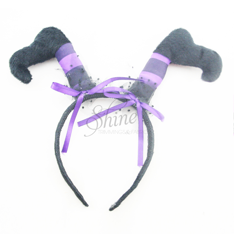 witch legs black purple halloween headband