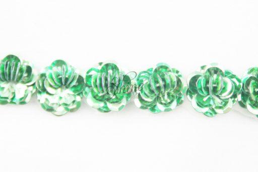 Beaded Flower Trim Emerald