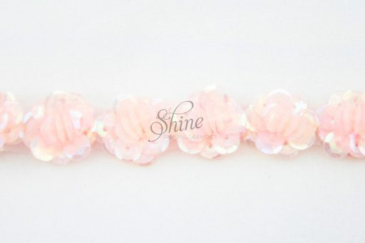 Beaded Flower Trim Pale Pink