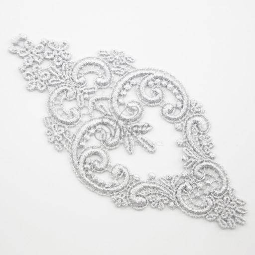 Decadent Chandelier Metallic Silver Lace Motifs