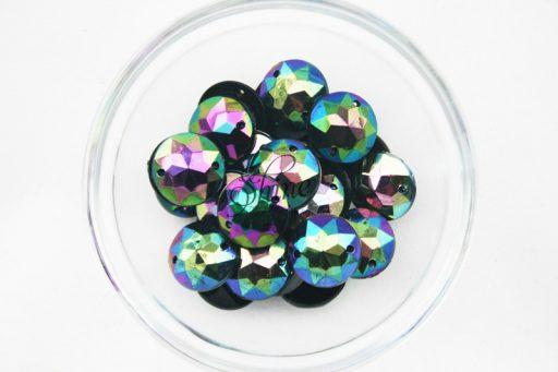 Plastic Oil Slick Sew On Stone Round 18mm