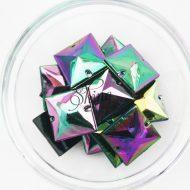 Plastic Oil Slick Sew On Stone Square 21mm
