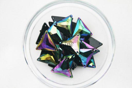 Plastic Oil Slick Sew On Stone Triangle 21mm
