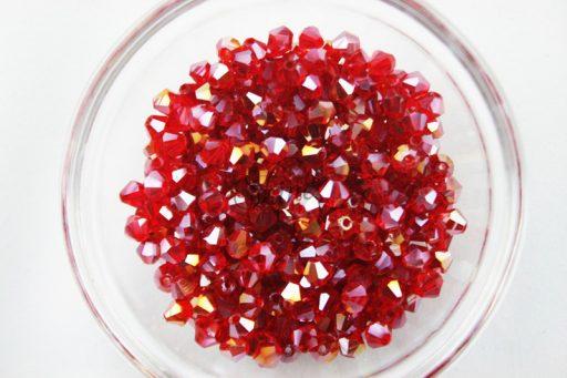 Light Siam Glass BiCone Bead