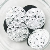 Plastic Silver Matte Sew On Stone Round 35mm