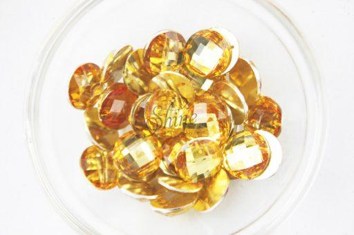 Plastic Gold Sew On Stones Round 12mm