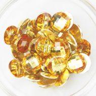 Plastic Gold Sew On Stones Round 16mm