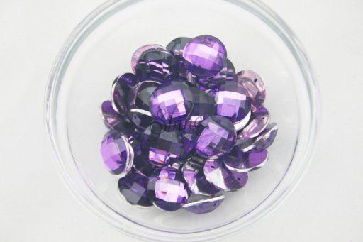 Plastic Purple Sew On Stones Round 16mm