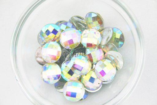 Plastic Crystal AB Sew On Stones Round 16mm