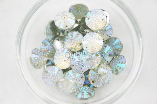 Plastic Frosted AB Sew On Stone Round 12mm