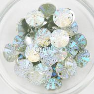 Plastic Frosted AB Sew On Stone Round 16mm