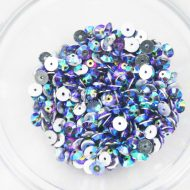 Plastic 6mm Round Sew On Stones Purple AB