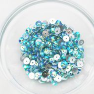 Plastic 6mm Round Sew On Stones Aqua AB