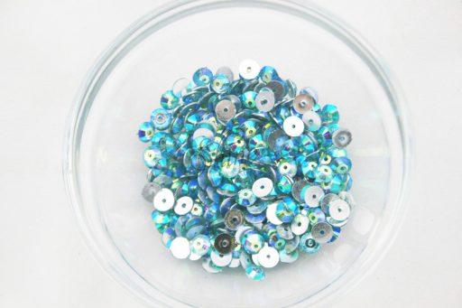 Plastic 6mm Round Sew On Stones Aqua AB