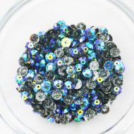 Plastic 6mm Round Sew On Stones Moonglow Glitter AB
