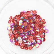 Plastic 6mm Round Sew On Stones Red Glitter AB