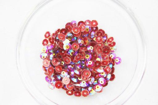 Plastic 6mm Round Sew On Stones Red Glitter AB