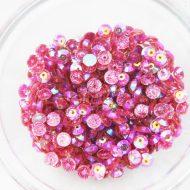 Plastic 6mm Round Sew On Stones Pink Glitter AB