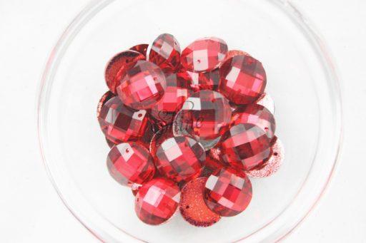 Plastic Red Sew On Stones Round 12mm