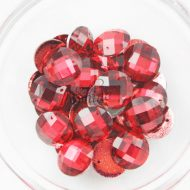 Plastic Red Sew On Stones Round 16mm