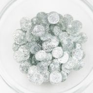 Plastic Round Glitter Sew on Stones Silver Glitter