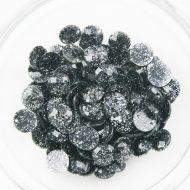 Plastic Round Glitter Sew on Stones Black Silver Glitter