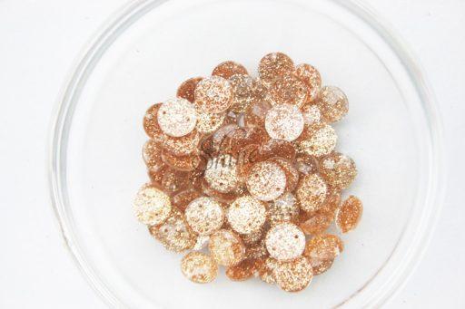 Plastic Round Glitter Sew on Stones Bronze Glitter
