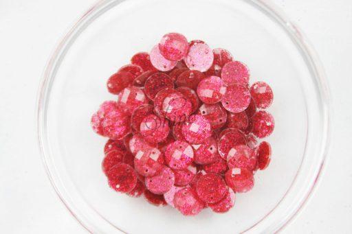 Plastic Round Glitter Sew on Stones Red Glitter