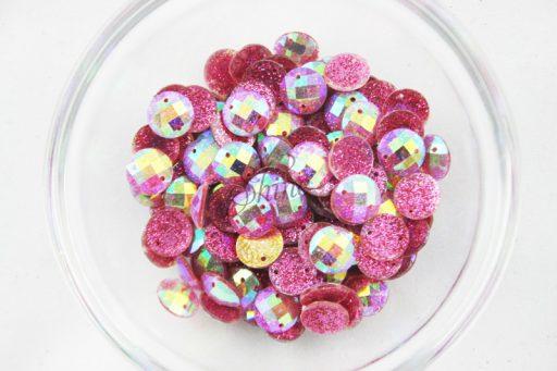 Plastic Round Glitter Sew on Stones Pink Glitter AB