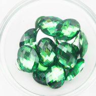 Plastic Emerald Green Sew On Stones Oval 10x14mm