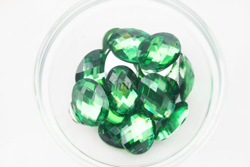 Plastic Emerald Green Sew On Stones Oval 18x25mm