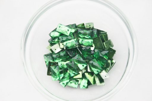Plastic Emerald Green Sew On Stones Rectangle 7x12mm