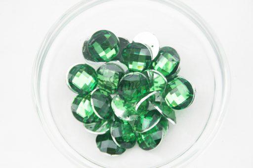 Plastic Emerald Green Sew On Stones Round 12mm