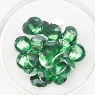 Plastic Emerald Green Sew On Stones Round 16mm