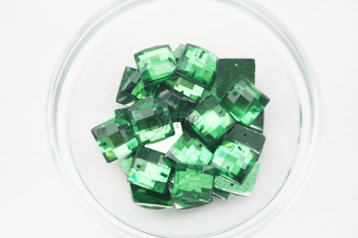 Plastic Emerald Green Sew On Stones Square 10mm