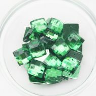 Plastic Emerald Green Sew On Stones Square 14mm