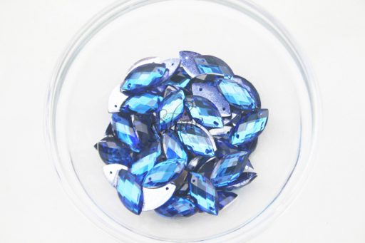 Plastic Royal Blue Sew On Stones Eye 6x12mm