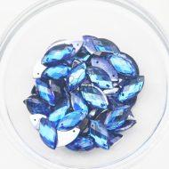 Plastic Royal Blue Sew On Stones Eye 9x18mm