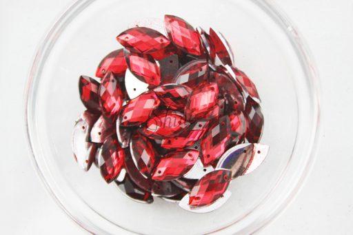 Plastic Red Sew On Stones Eye 6x12mm