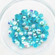 Plastic Flower Margarite Sew On Stones Aqua AB