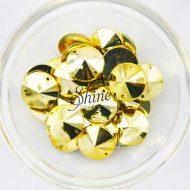 Plastic Metallic Gold Sew On Stone Round 14mm