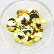 Plastic Metallic Gold Sew On Stone Round 18mm