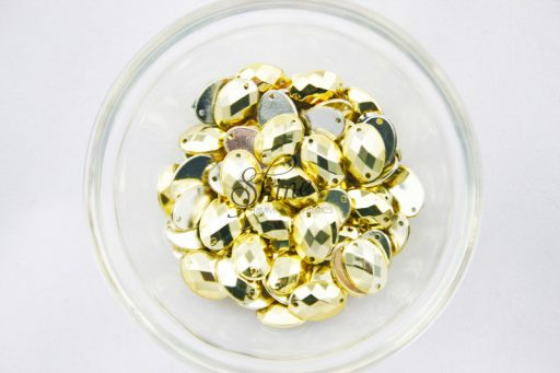 Plastic Metallic Gold Sew On Stone Oval 10x14mm