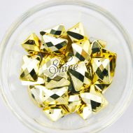 Plastic Metallic Gold Sew On Stone Rectangle 13x18mm