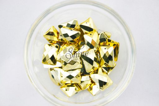 Plastic Metallic Gold Sew On Stone Rectangle 13x18mm