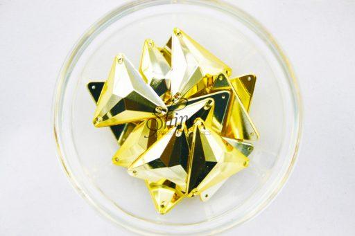 Plastic Metallic Gold Sew On Stone Triangle 26mm