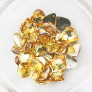 Plastic Gold Sew On Stones Heart 14mm