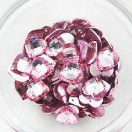 Plastic Pink Sew On Stones Heart 14mm